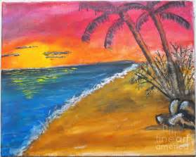 Yellow Duvet Beach Scene Painting By Catherine Ratliff