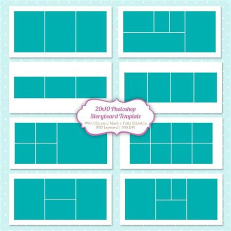 digital photo collage template instant storyboard photoshop templates 20x10