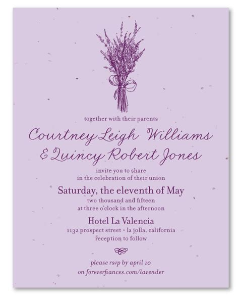 Wedding Invitations Lavender by Lavender Wedding Invitations On Seeded Paper Lavender
