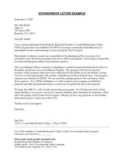 Sponsorship Executive Cover Letter by Sponsorship Letter Sponsorship Letter Template To Produce A Professional