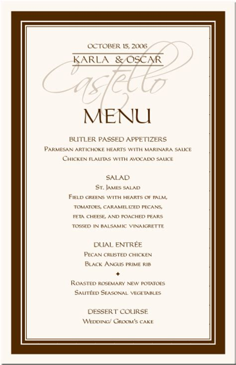 menu cards wedding reception templates menu borders