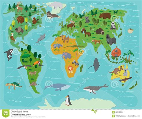 Animal World 5 animal world map stock vector