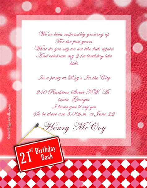 21st birthday invitation wording sles 21st birthday invitation wording wordings and messages