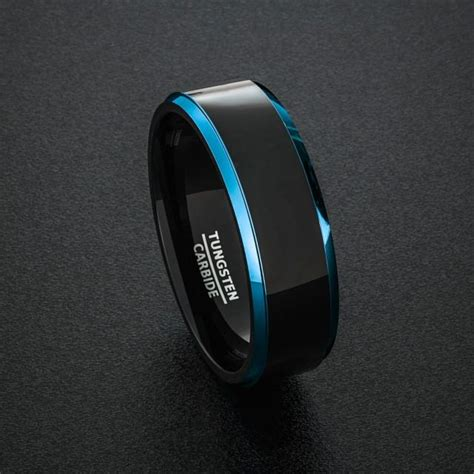 Tungsten Carbide Ring Wedding by Tungsten Wedding Band Mens Ring Two Tone Blue Step Edges