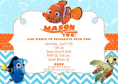 printable nemo birthday invitations finding nemo birthday invitation diy digital by modpoddesigns