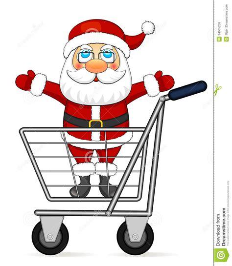 santa claus in shopping cart royalty free stock photos