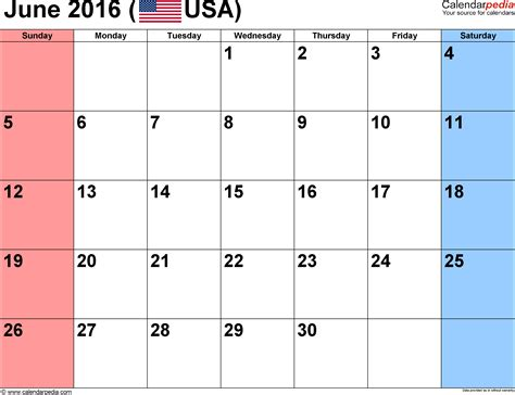 printable month calendar june 2016 june 2016 calendars for word excel pdf