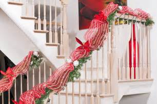 Christmas Banister Decorations Classic Red Amp White Christmas Decorating Diy House Help