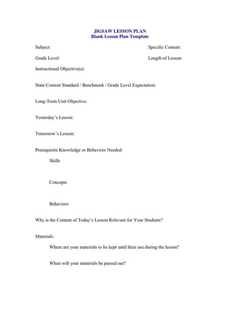 Jigsaw Lesson Plan In Word And Pdf Formats Jigsaw Strategy Template