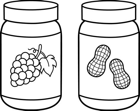 Peanut Butter And Jelly Line Art Free Clip Art Jam Coloring Pages