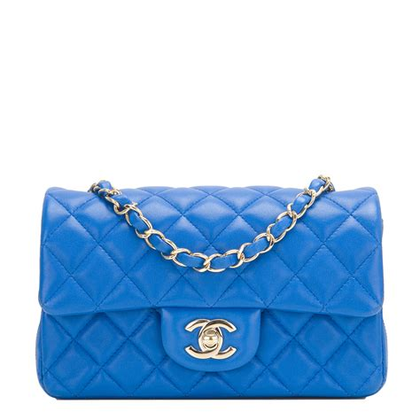 New Chanel Mini Blue Lambskin chanel blue quilted lambskin rectangular mini classic flap bag world s best
