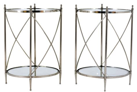 glass and chrome side table pair of regency style chrome and glass side tables