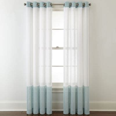 jcpenney home store curtains jcpenney home bayview color block grommet top sheer