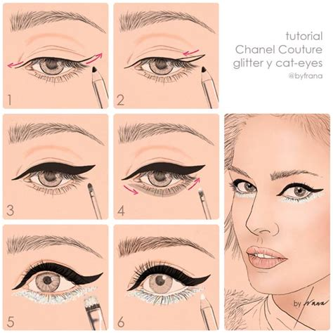tutorial eyeliner chanel tutorial glitter y cat eye chanel couture ss14