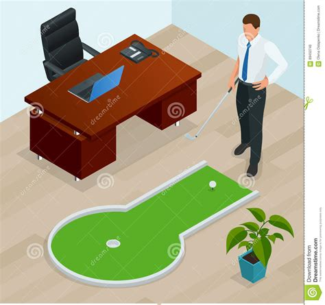 juego de golf para oficina hombre de negocios que juega a mini golf en su oficina