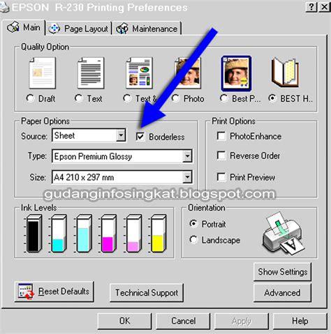 Printer Epson Hitam Putih cara print tanpa margin pada epson r230 gudang info singkat