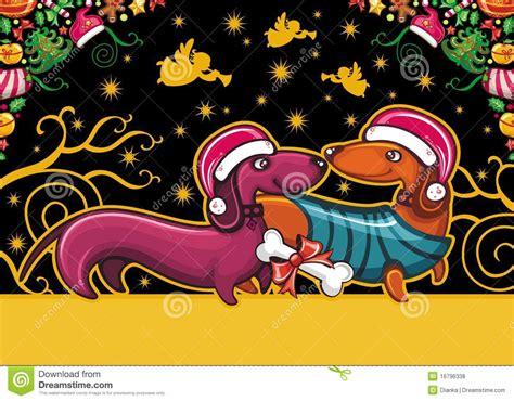 christmas dachshund greeting card royalty  stock  image