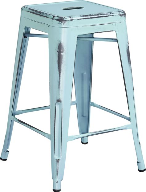 backless metal counter height stools 24 high backless distressed blue metal indoor