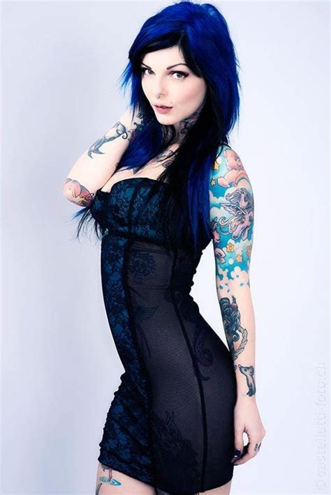 tattoo girl blue hair picture of riae suicide