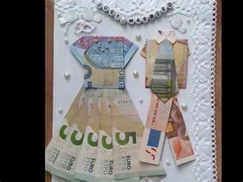 hochzeitskleid aus geld falten diy hochzeitskarte selbst gestalten teil 2 kleid aus