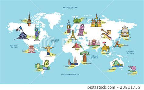map world mouments landmarks of the world map www pixshark images