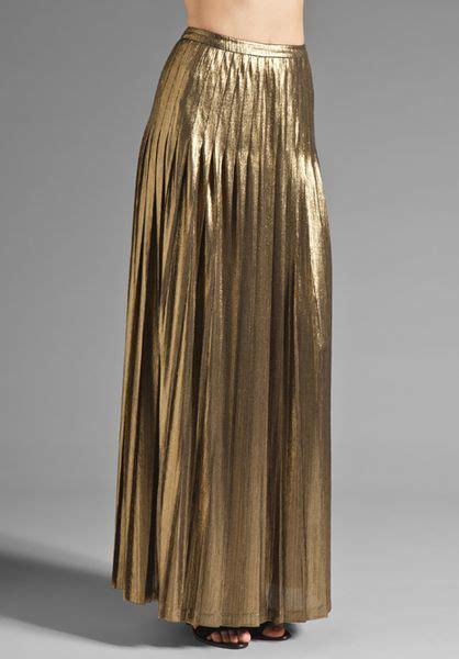 catherine malandrino metallic pleated maxi skirt in