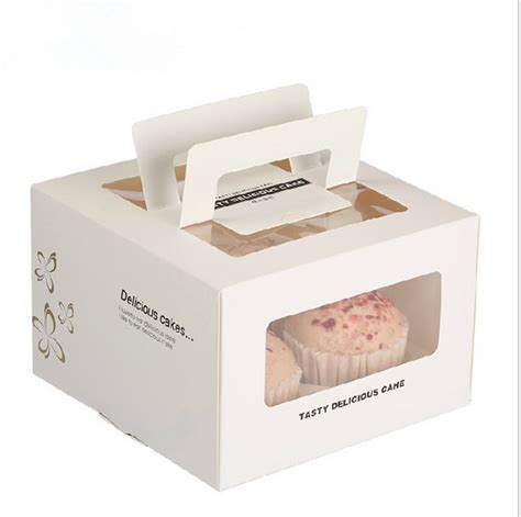 new year cake packaging square windowed portable 4 grid portable cake box