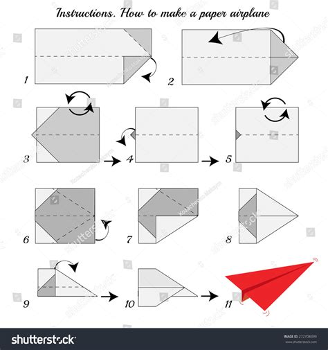 Steps For A Paper Airplane - how make paper airplane paper stock vector
