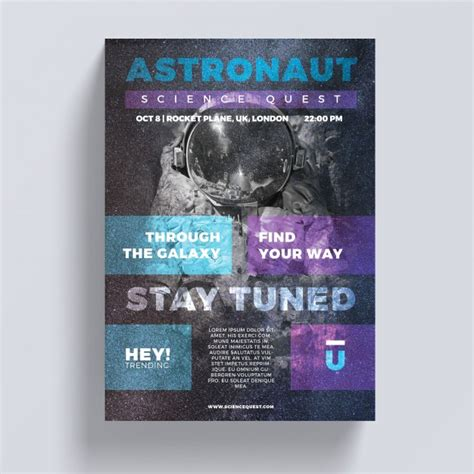 template poster psd free astronaut flyer template psd file free