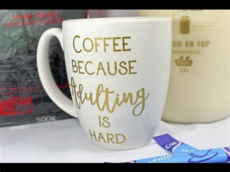printable vinyl on mugs how to create a quote coffee mug with silhouette and vinyl