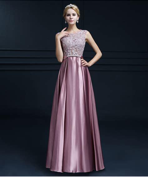 dress design for js prom elegant o neck sleeveless a line purple pink satin prom
