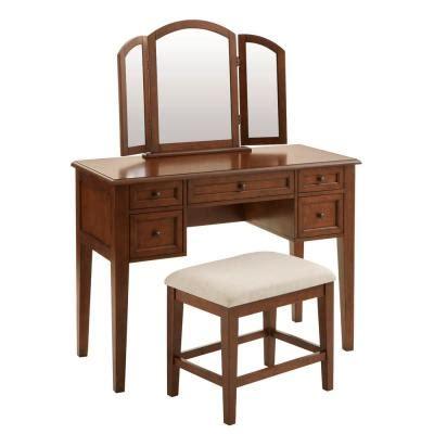 walnut makeup vanities bedroom furniture  home depot