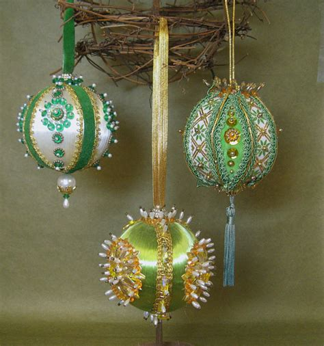 vintage handmade christmas ornaments kitschy heavy beaded