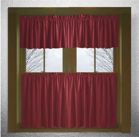 solid burgundy wine cotton kitchen tier cafe curtains