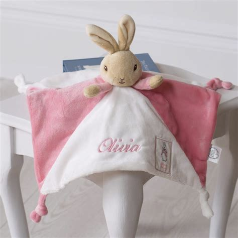 baby girl comfort blanket flopsy bunny personalised pink baby comfort blanket that