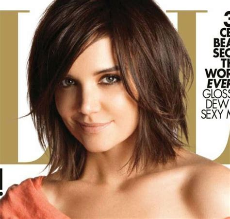 layered long bob katie holmes katie holmes celebrity short brunette layered hair