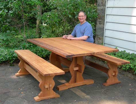 100 oak picnic bench bleached oak trestle table in