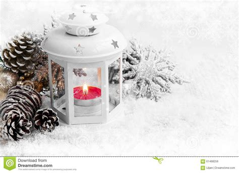 Ice Lamp by White Christmas Lantern With Ornaments On Snow And Ice