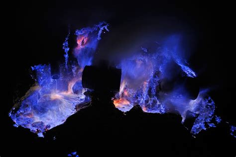 Blue Flames in the Kawah Ijen Volcano, Indonesia   Places