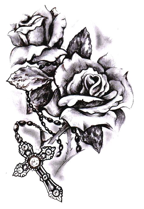 rose tattoos sketches cross sketch by simonvalentine on deviantart