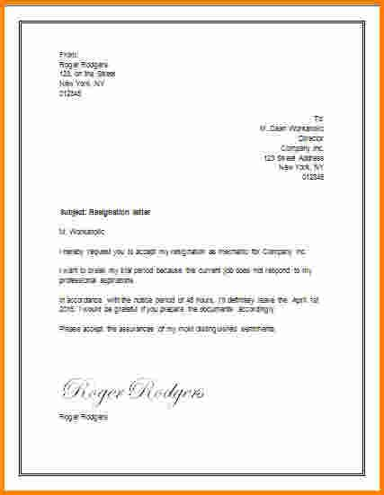letter of resignation word doc 529684 resignation letter word format sle free