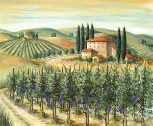 Mural Tiles For Kitchen Backsplash tuscan vineyard and villa painting by marilyn dunlap