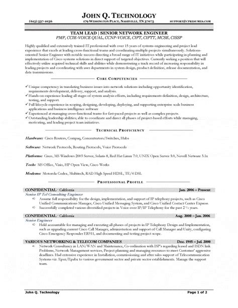 senior network engineer resume