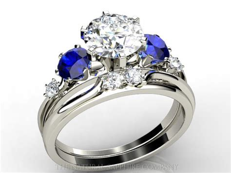 custom made blue sapphire and engagement ring and
