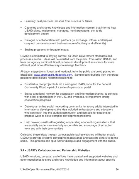 usaid business plan format usaid open gov plan