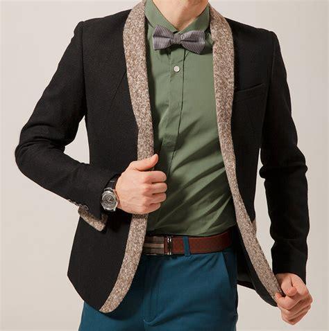 Jaket Blazer Pria Coolmen Black cool style black wool blend blazer with knitted beige ou