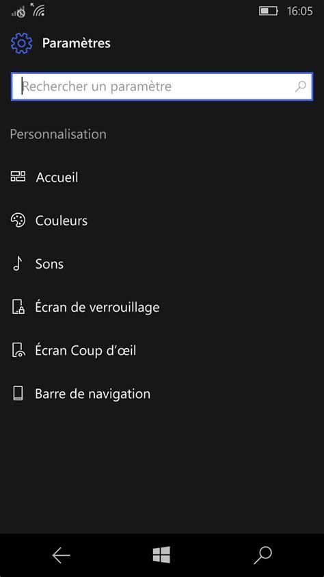 Windows 10 Mobile : Glance screen, always on display