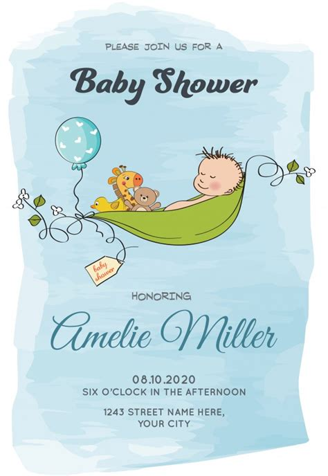 baby boy shower card template lovely baby boy shower card template vector free