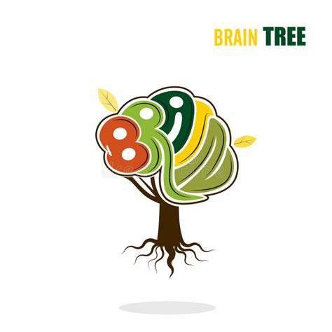 Abstract Vector Brain Tree Logo Template Think Green Concept Stock Vector Illustration Of Abstract Green Tree Logo Vector Free