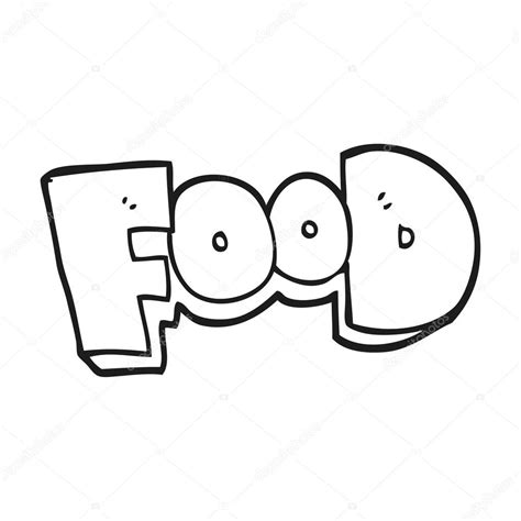 word clipart black and white word food stock vector